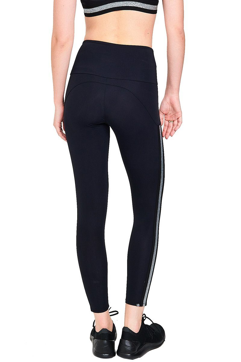 Side Runner Legging - Black/Silver