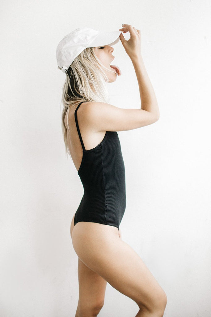 Basic Bodysuit - Black Chunky Rib