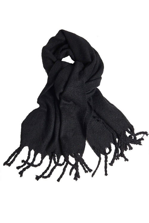 Fringe Cashmere Scarf - Black - INFLOWSTYLE | INFLOWSTYLE