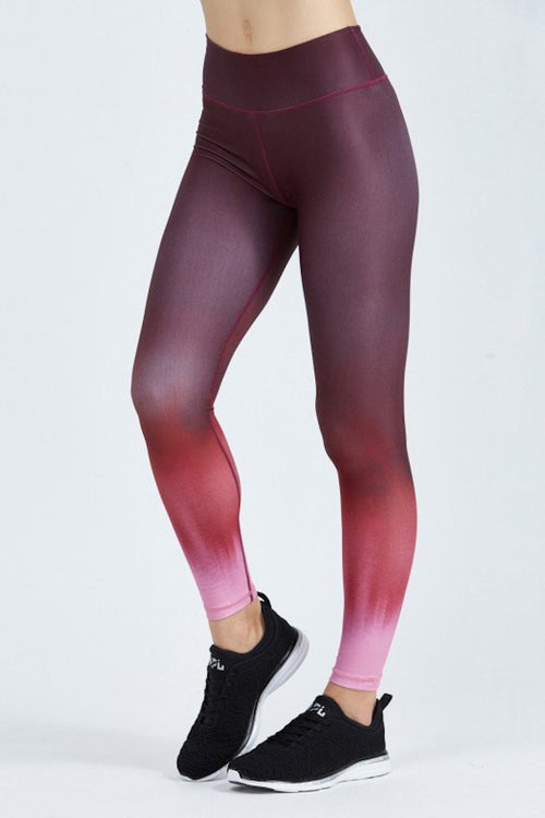 Rockell Compression Tights - Black Cherry Ombré - INFLOWSTYLE  - 1