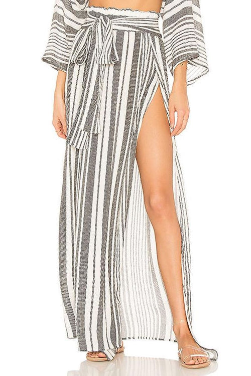 Grace High Waisted Wrap Skirt - Boho Stripe - Blue Life | INFLOWSTYLE
