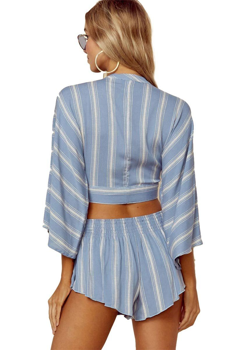 Wrapped Top - Bluebell Boho Stripe