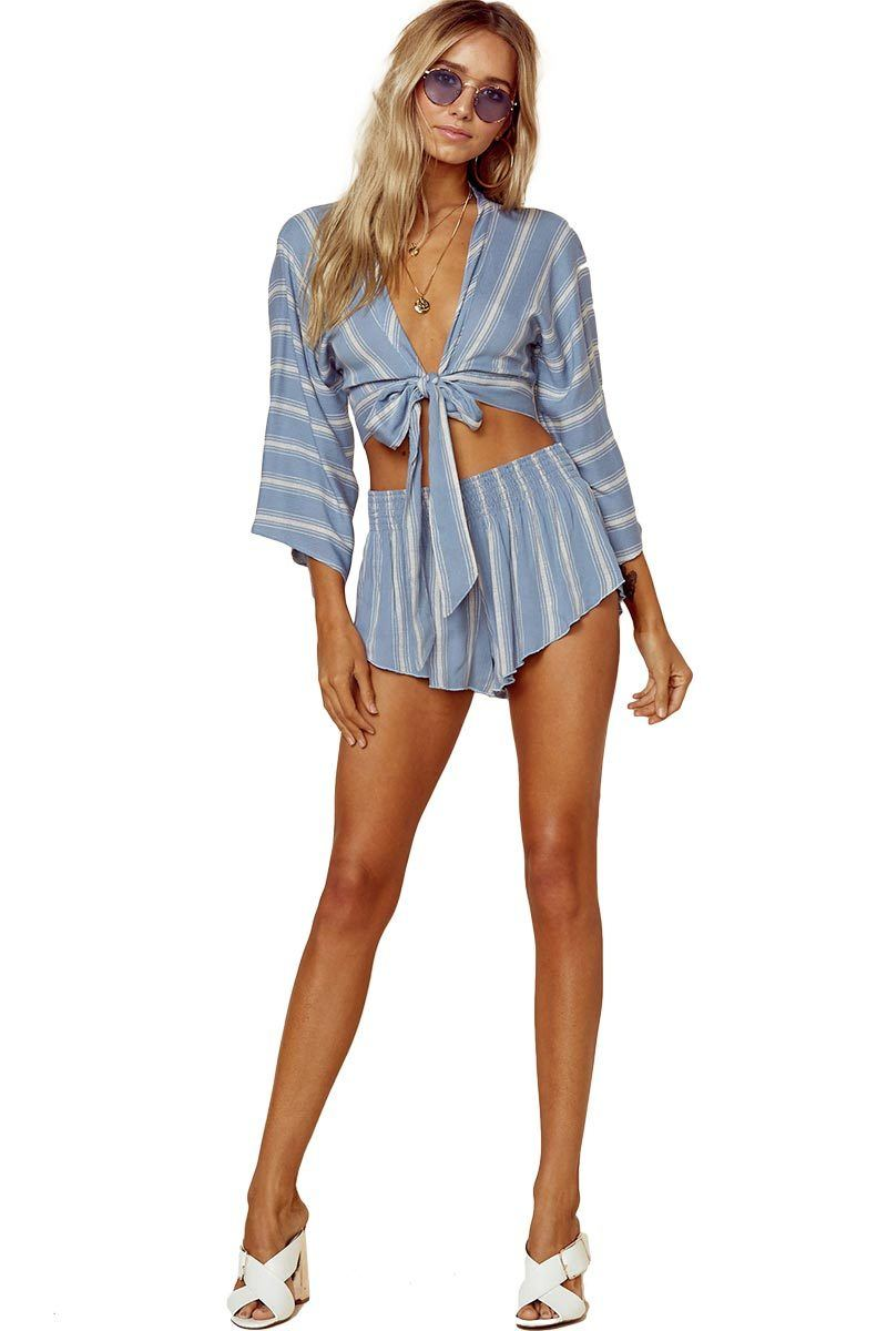 Beach Bunny Short - Bluebell Boho Stripe - Blue Life | INFLOWSTYLE