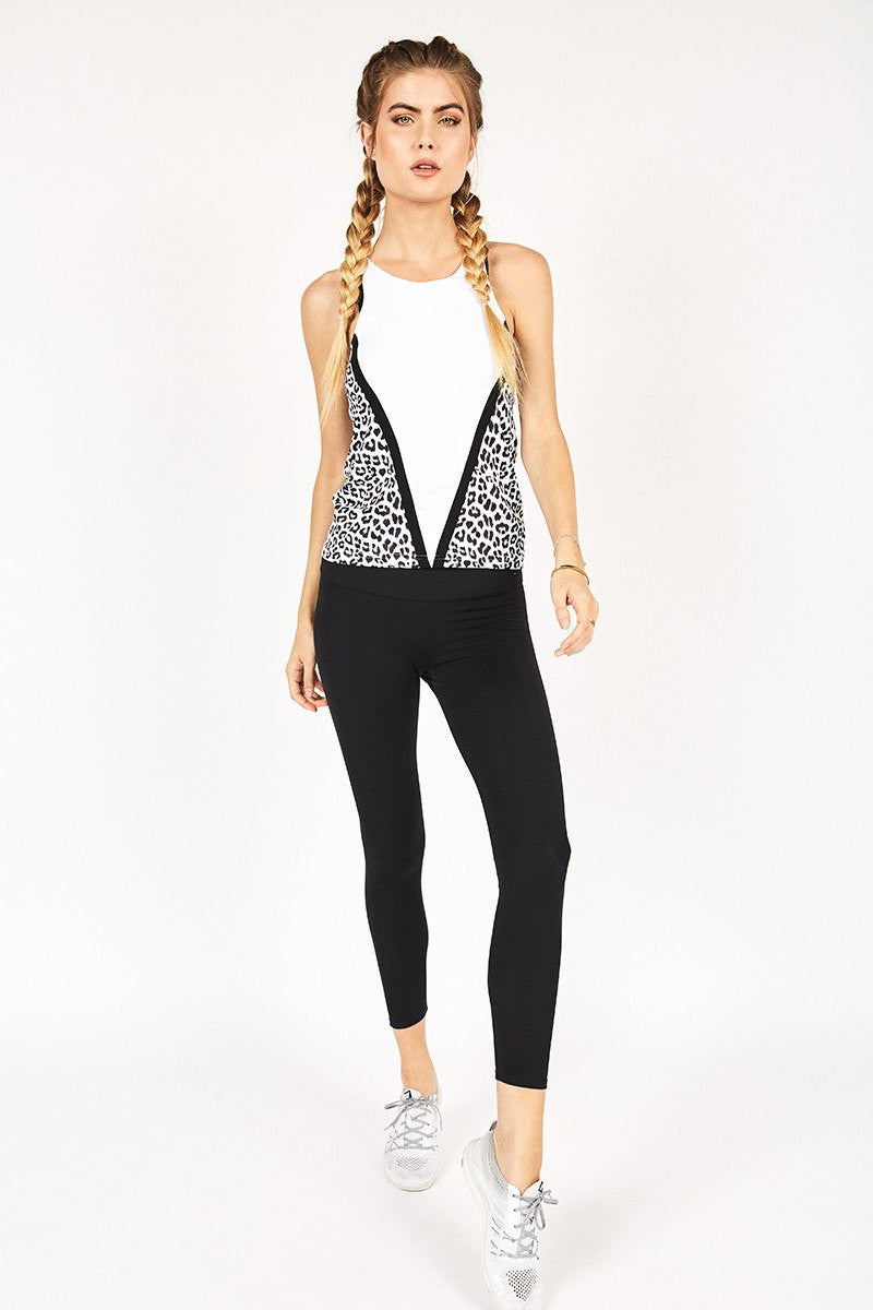Cassy High Neck Tank - White Leopard - Vie Active | INFLOWSTYLE