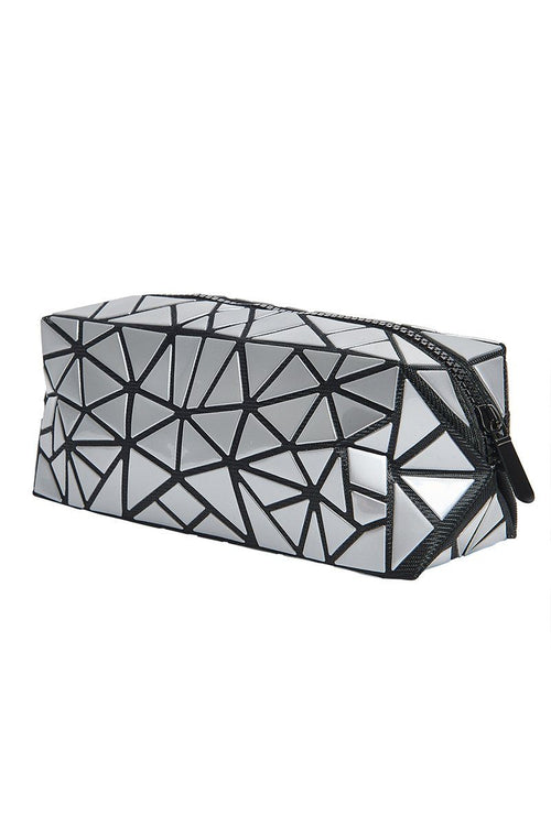 Geometric Cosmetic Travel Case - Silver - INFLOWSTYLE | INFLOWSTYLE