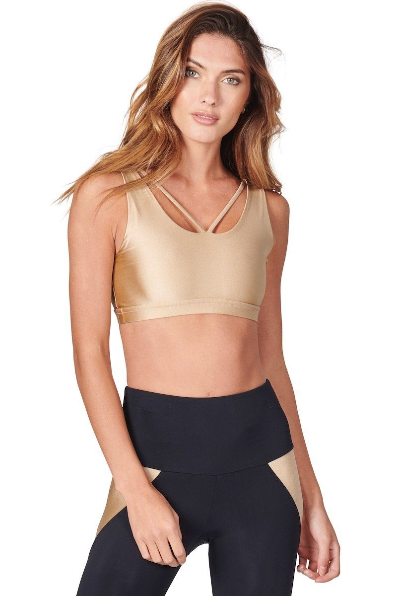 Crossover Bra - Shiny Taupe - Onzie | INFLOWSTYLE