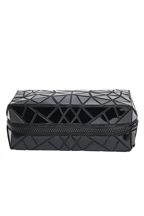 Geometric Cosmetic Travel Case - Black - INFLOWSTYLE | INFLOWSTYLE