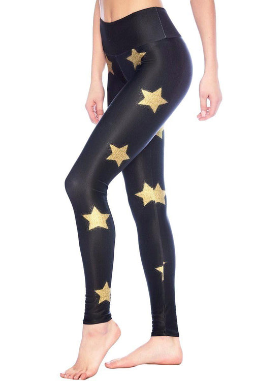 Gold Glitter Star Leggings - Goldsheep | INFLOWSTYLE