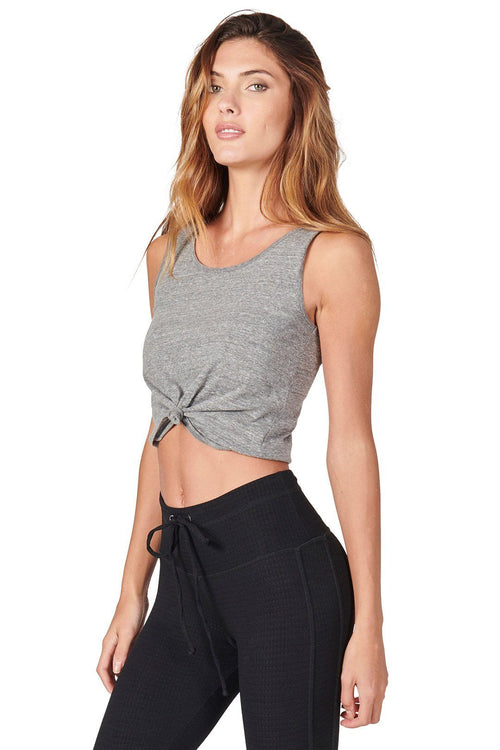 Knot Crop Top - Heather Grey