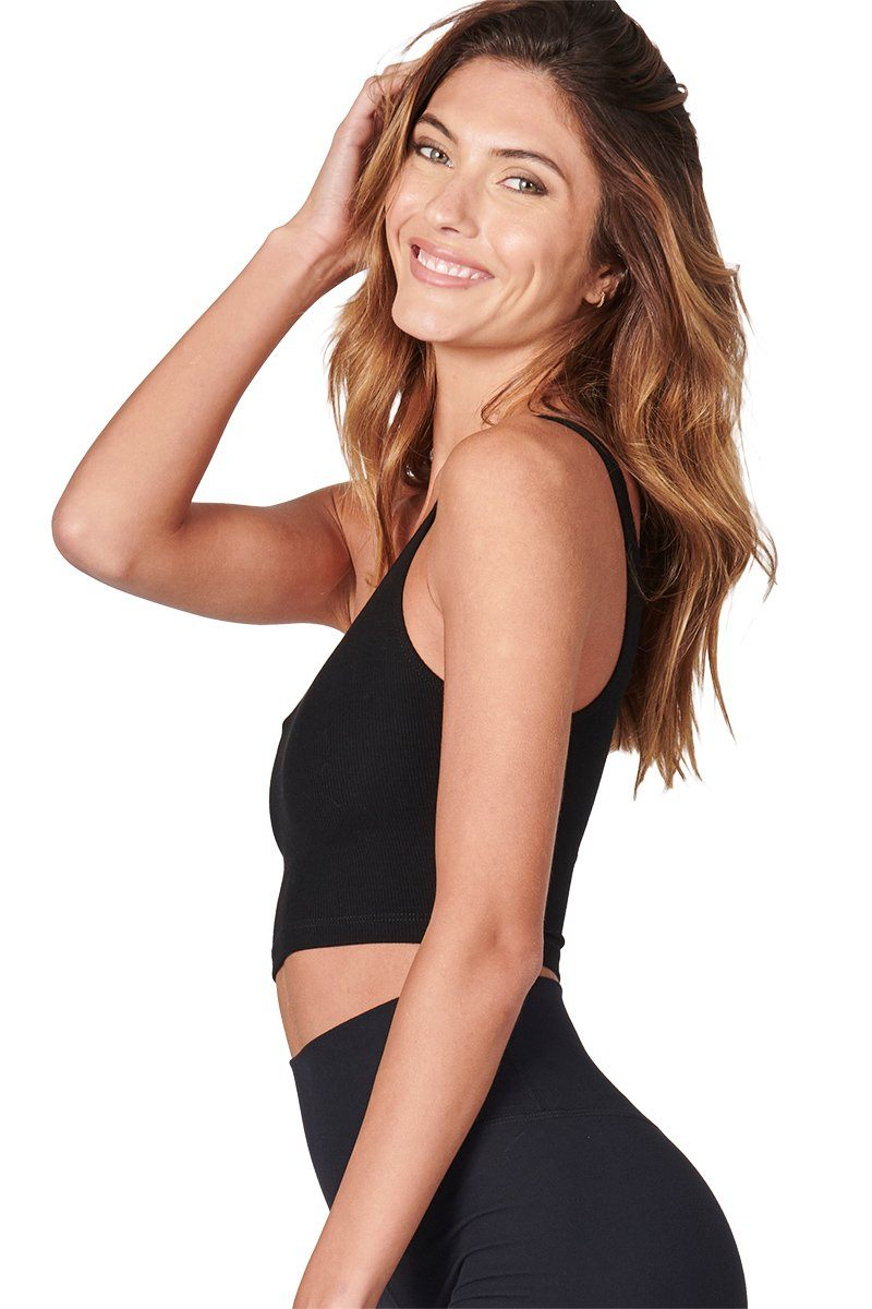 Single Strap Crop Tank - Black Flex Rib