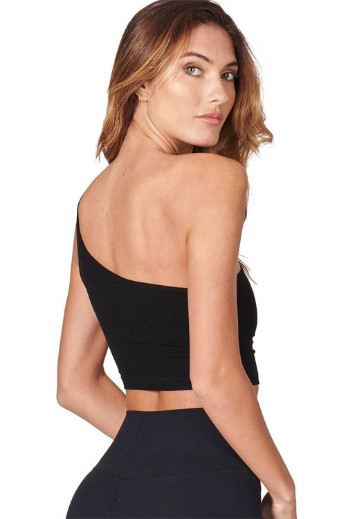 Single Strap Crop Tank - Black FlexRib