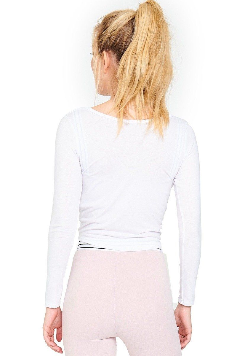 Long Sleeve Knot Crop - White