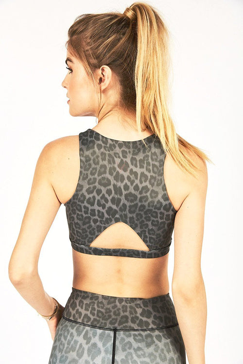 Mary High Neck Bra - Charcoal Leopard/Blush - Vie Active | INFLOWSTYLE