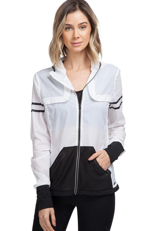 Moonlight Jacket - White/Black - Blanc Noir | INFLOWSTYLE
