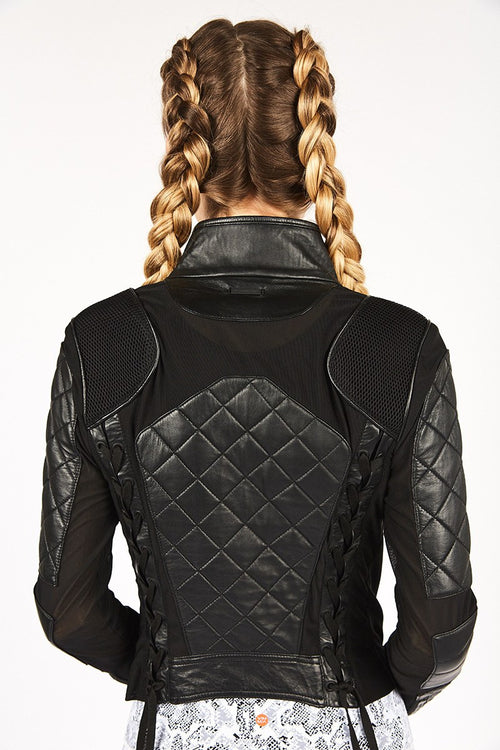 Quilted Leather Moto Jacket - Blanc Noir | INFLOWSTYLE