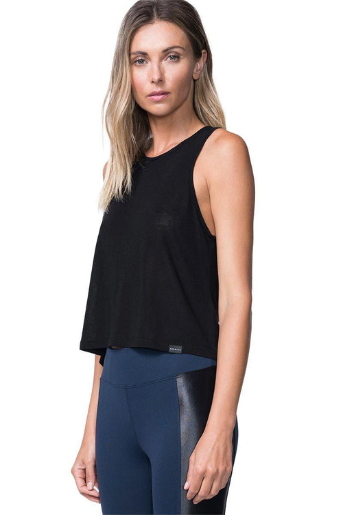 Muscle Jersey Tank - Black - Koral | INFLOWSTYLE