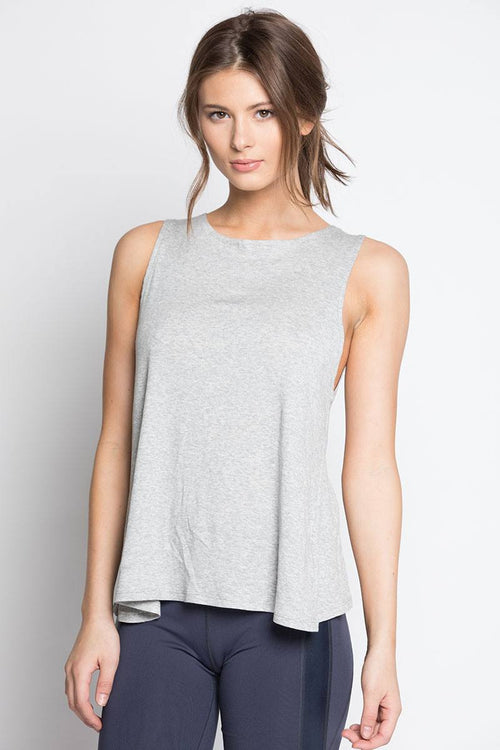Open Back Tank - Grey - INFLOWSTYLE  - 2