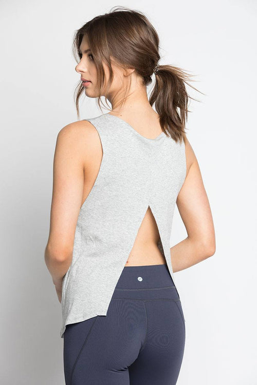 Open Back Tank - Grey - INFLOWSTYLE  - 1