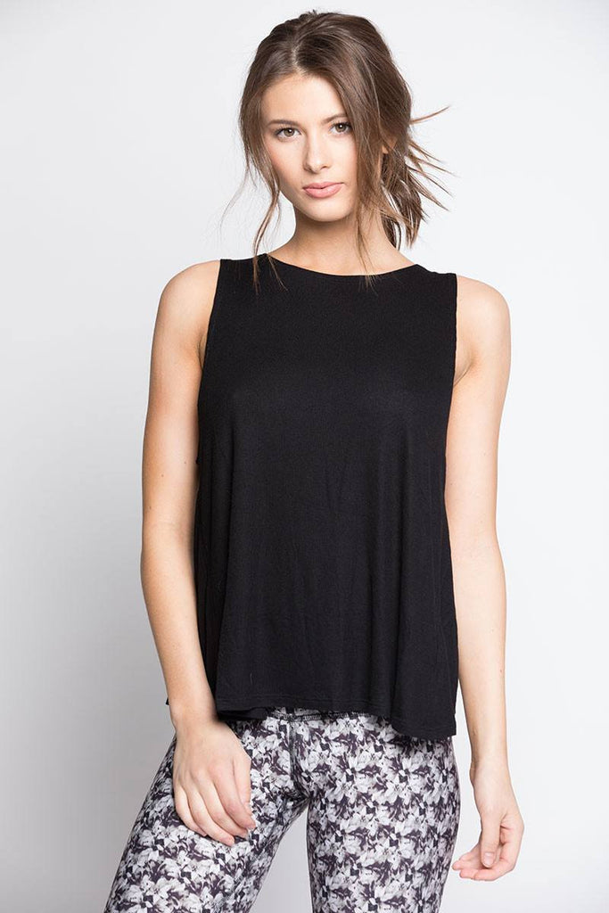 Open Back Tank - Black - INFLOWSTYLE  - 2