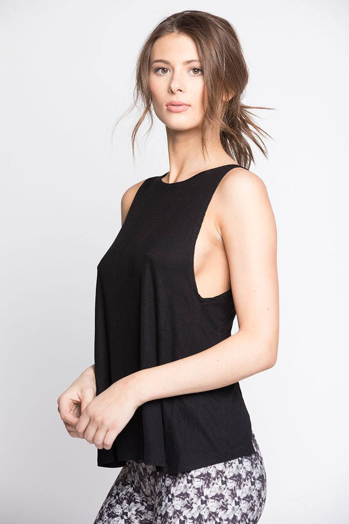 Open Back Tank - Black - INFLOWSTYLE  - 3