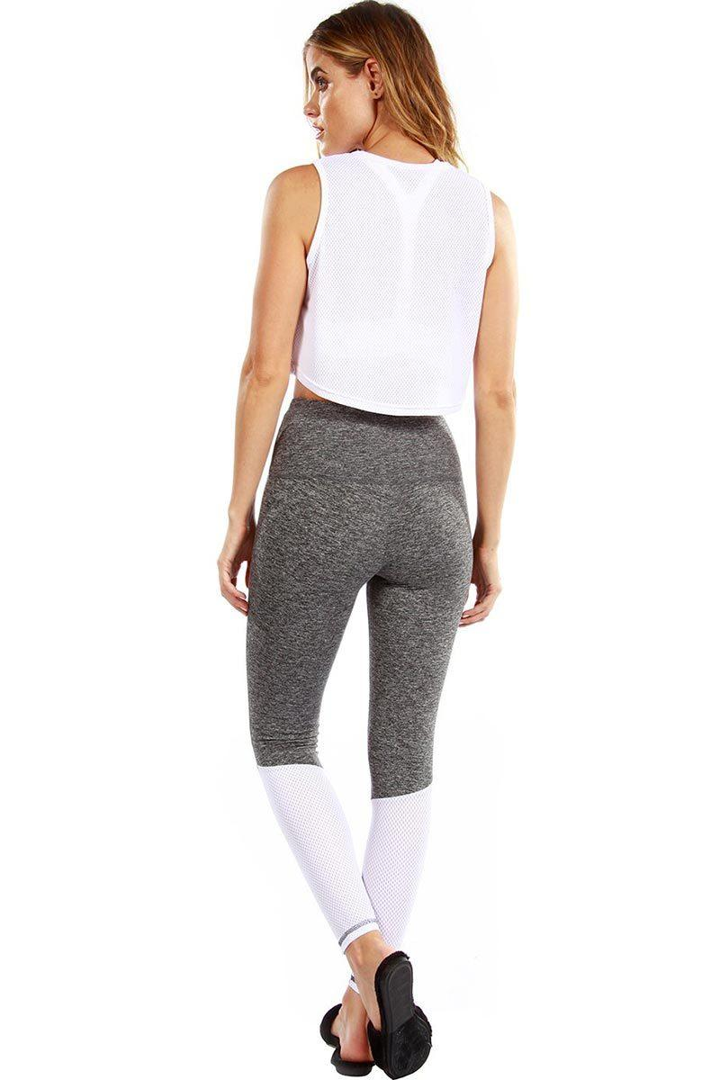 Philly Ankle Legging - Grey Moss/White Mesh - Strut-This | INFLOWSTYLE