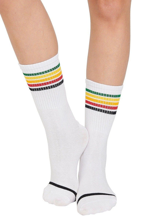 Rainbow Crew Socks - White