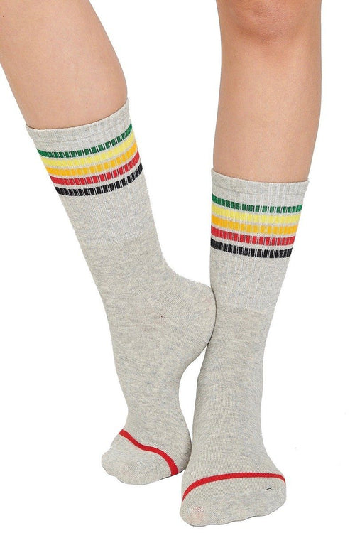 Rainbow Crew Socks - Grey