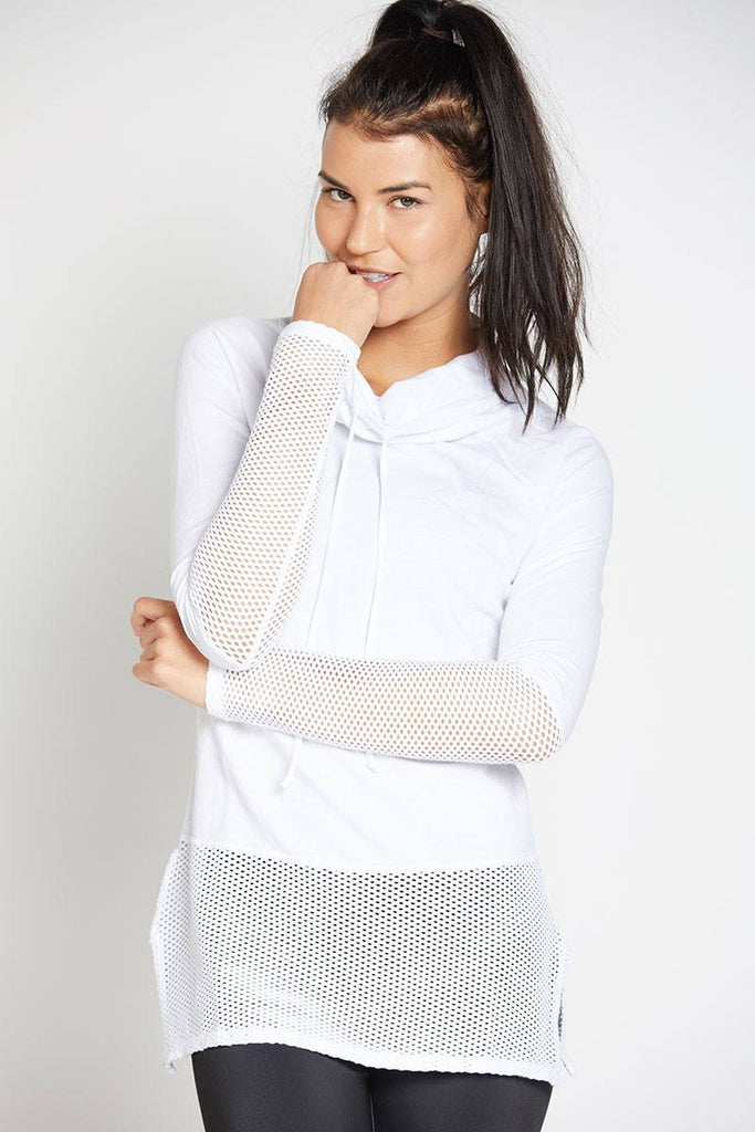 Ricky Long Sleeve Pullover - White - INFLOWSTYLE  - 1