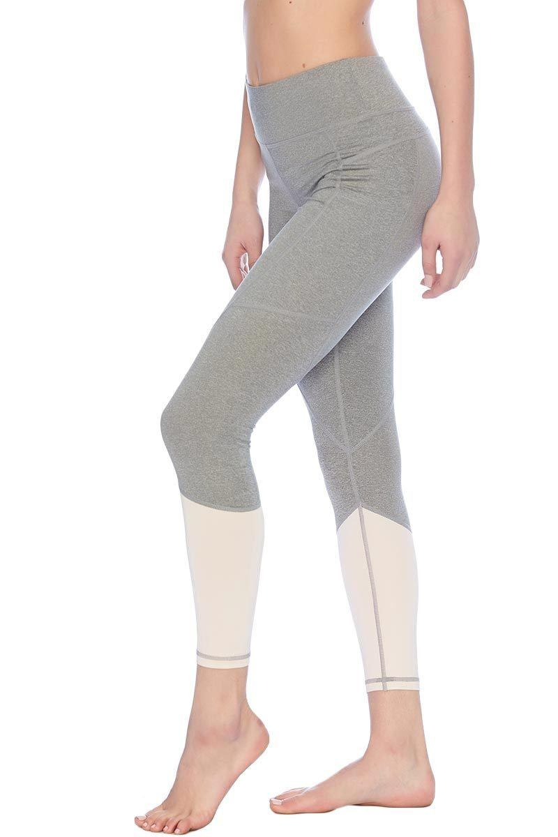 Riley 7/8 Medium Waist Tight - Heather Grey/Blush - Vie Active | INFLOWSTYLE