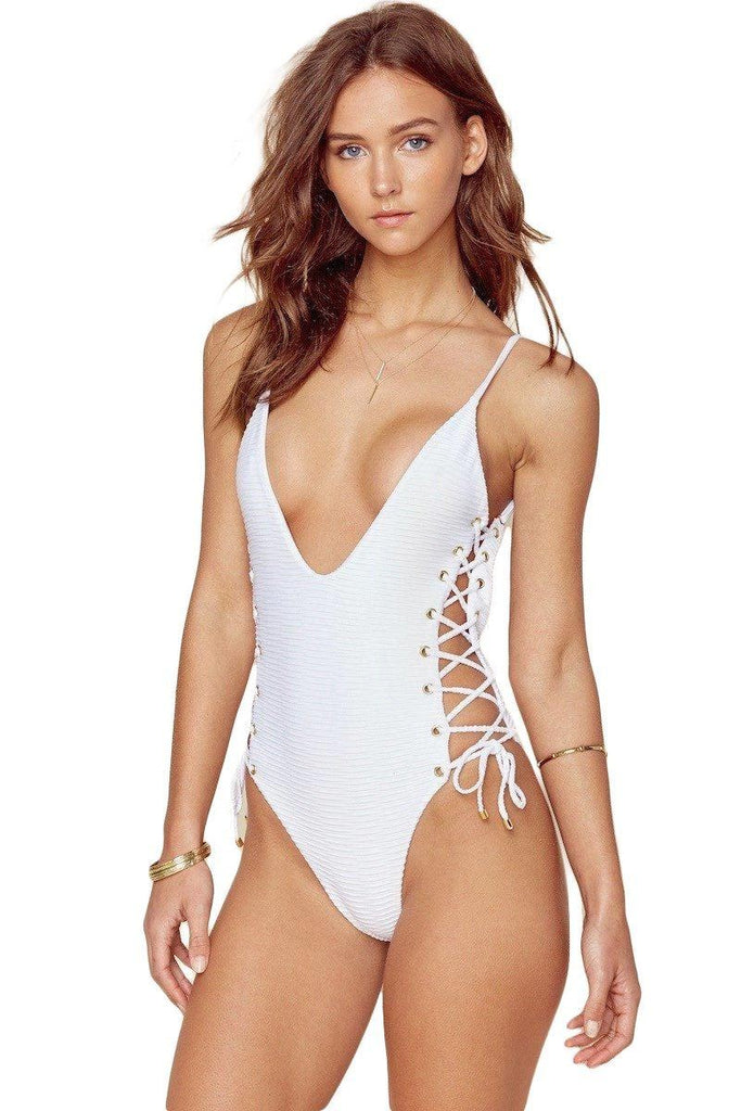 Roped Up One Piece - White Jacquard