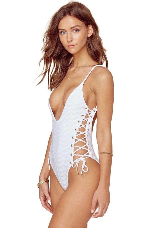 Roped Up One Piece - White Jacquard - Blue Life | INFLOWSTYLE