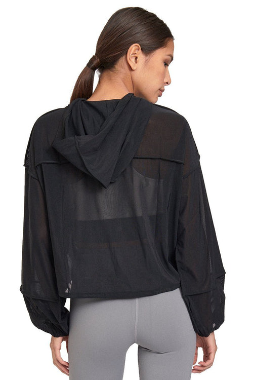Sheer Cinch Hoodie - Black