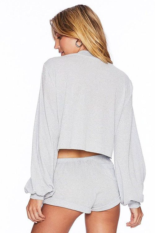 Crop Sweater - Silver - Beach Riot | INFLOWSTYLE