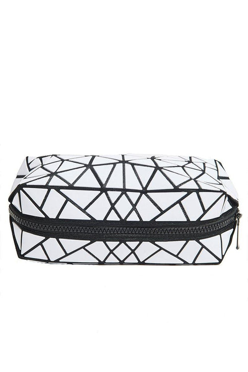 Geometric Cosmetic Travel Case - White - INFLOWSTYLE | INFLOWSTYLE