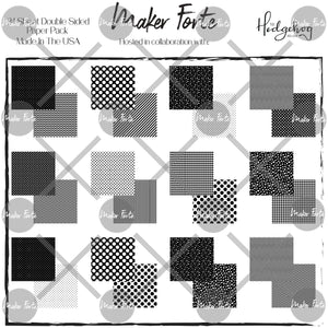 Printed Paper - The Hedgehog Hollow - Black to Basics Patterned Square Paper Pack