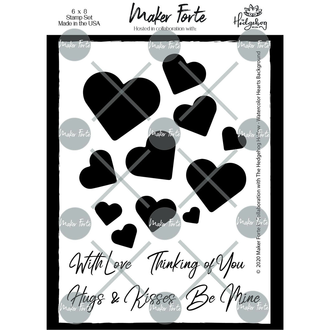 Stamps - The Hedgehog Hollow - Watercolor Hearts Background with Sentiments