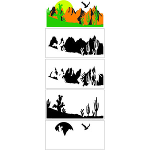 Stencil - Alex Syberia Design - Desert Landscape Builder - Layered Stencil Set