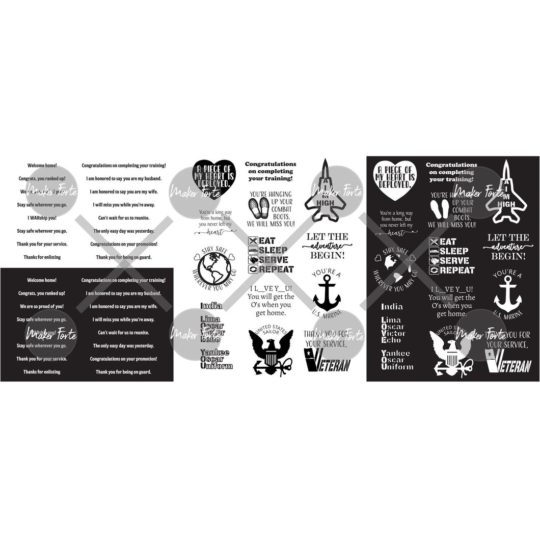 Simple Sayings - Military - 8.5 x 11 - 3 sheets
