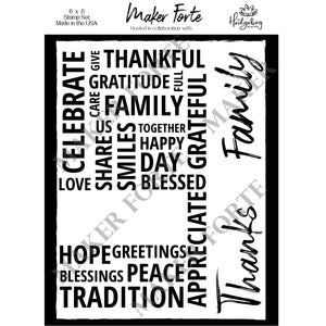Stamps - Hedgehog Hollow - Thankful Word Collage - Maker Forte