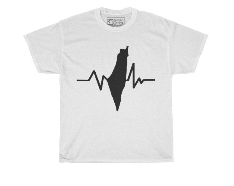 Palestine's Pulse Tee | White/Black