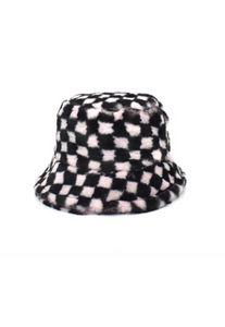 Pale Pink Checkerboard Fluffy Bucket Hat