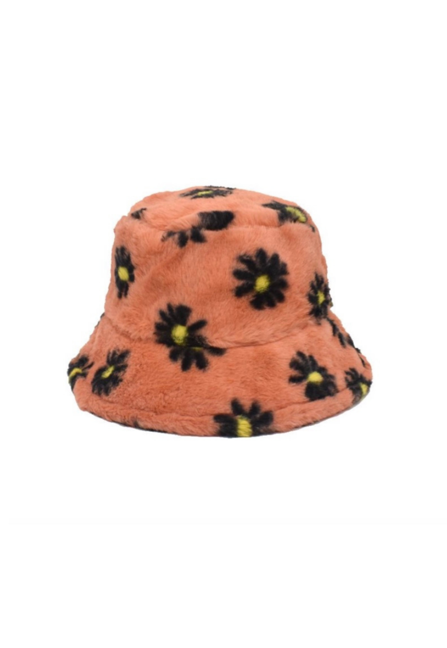 Peach Daisy Fluffy Bucket Hat