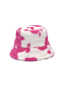 Deep Pink Cow Fluffy Bucket Hat