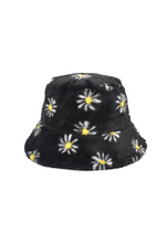 Load image into Gallery viewer, Black Daisy Fluffy Bucket Hat