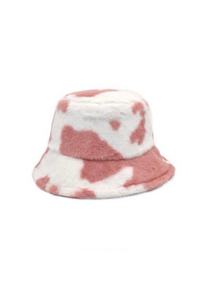 Pale Pink Cow Fluffy Bucket Hat