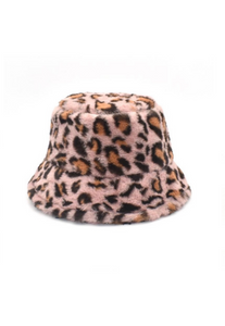 Pale Pink Leopard Fluffy Bucket Hat
