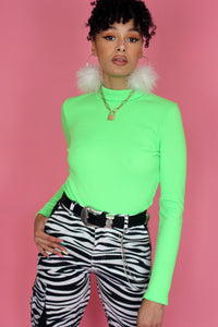 New Green Ribbed Long Sleeve Top