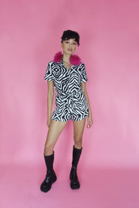 Zebra Illusion Short Boilersuit