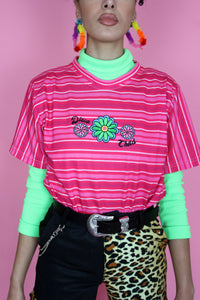 Pink Flower Power Striped Tee