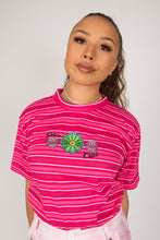 Load image into Gallery viewer, Pink Flower Power Striped Tee